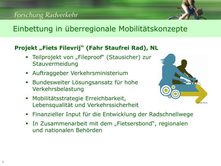 Einbettung in überregionale Mobilitätskonzepte