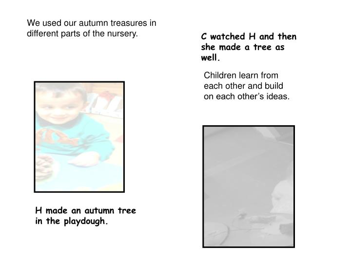 We used our autumn treasures in different parts of the nursery.