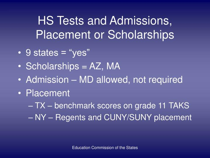 HS Tests and Admissions, Placement or Scholarships