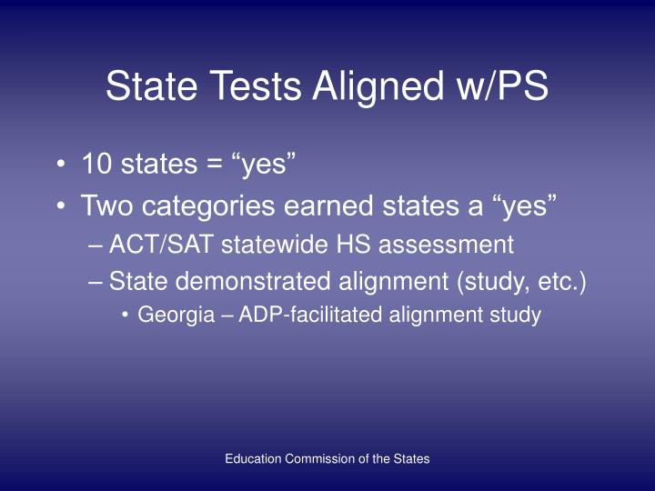 State Tests Aligned w/PS