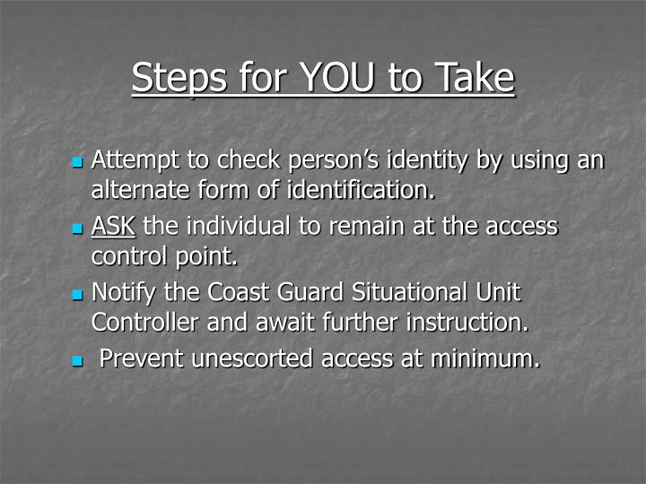 Steps for YOU to Take