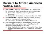barriers to african american voting cont