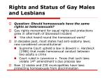 rights and status of gay males and lesbians