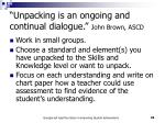 unpacking is an ongoing and continual dialogue john brown ascd