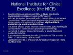 national institute for clinical excellence the nice