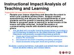 instructional impact analysis of teaching and learning