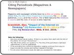 intro to mla citation citing periodicals magazines newspapers