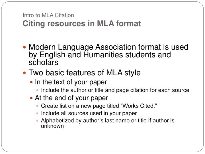 an introduction to the mla style