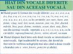 hiat din vocale diferite sau din aceea i vocal