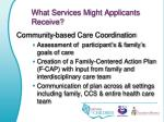 what services might applicants receive
