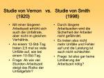 studie von vernon vs studie von smith 1920 1998