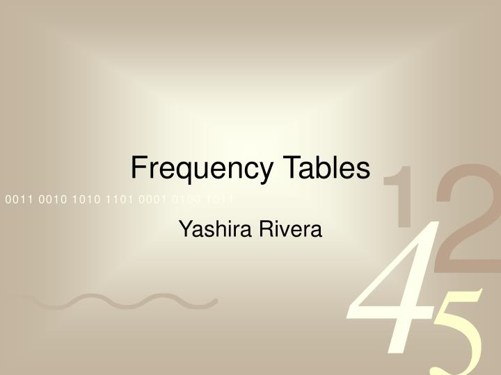 frequency tables n.