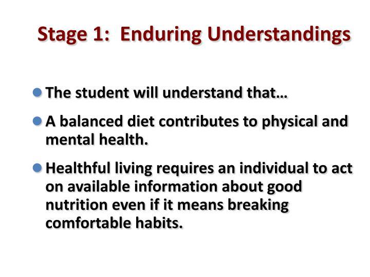 Stage 1:  Enduring Understandings