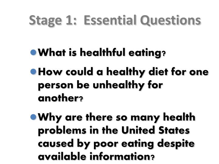 Stage 1:  Essential Questions