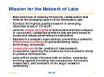 mission for the network of labs