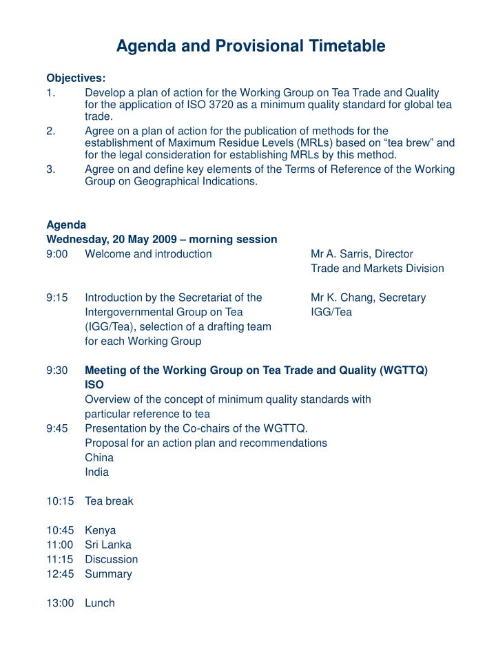 Agenda and Provisional Timetable