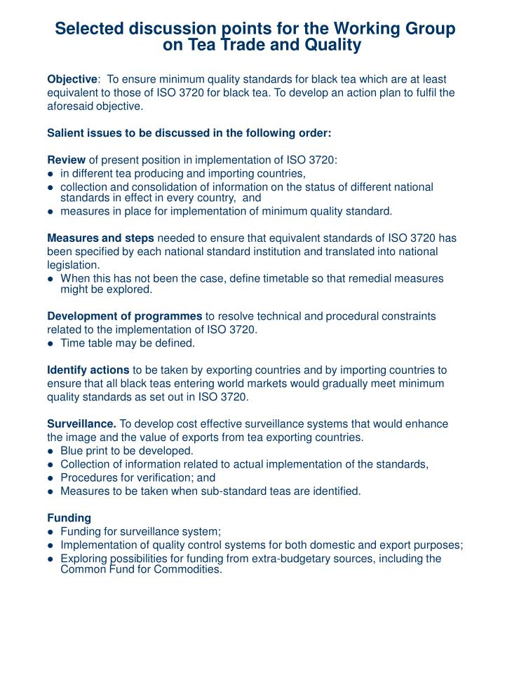 Selected discussion points for the Working Group on Tea Trade and Quality