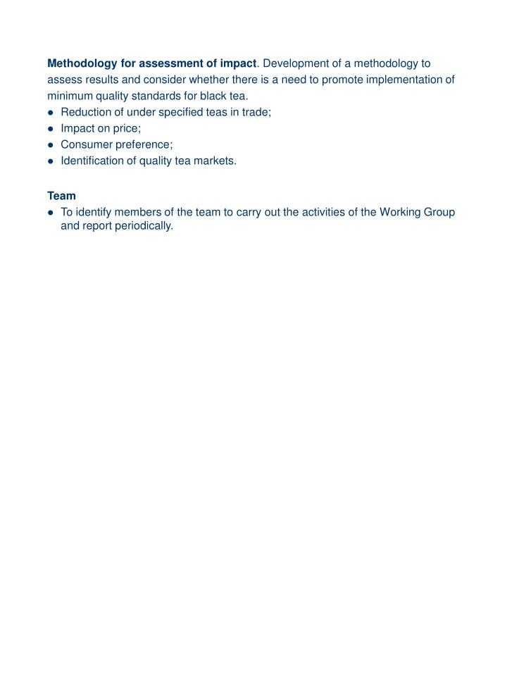 Methodology for assessment of impact