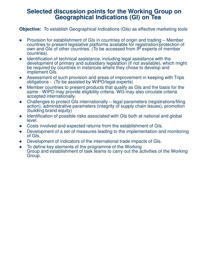 Selected discussion points for the Working Group on Geographical Indications (GI) on Tea