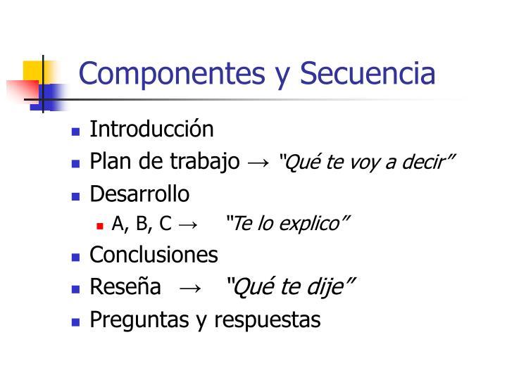 Componentes y Secuencia