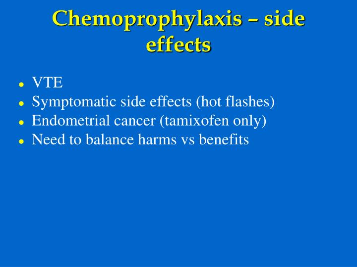Chemoprophylaxis – side effects