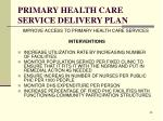 primary health care service delivery plan