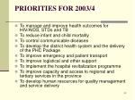 priorities for 2003 4