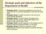 strategic goals and objectives of the department of health