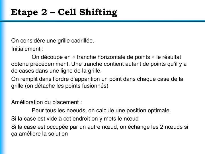 Etape 2 – Cell Shifting