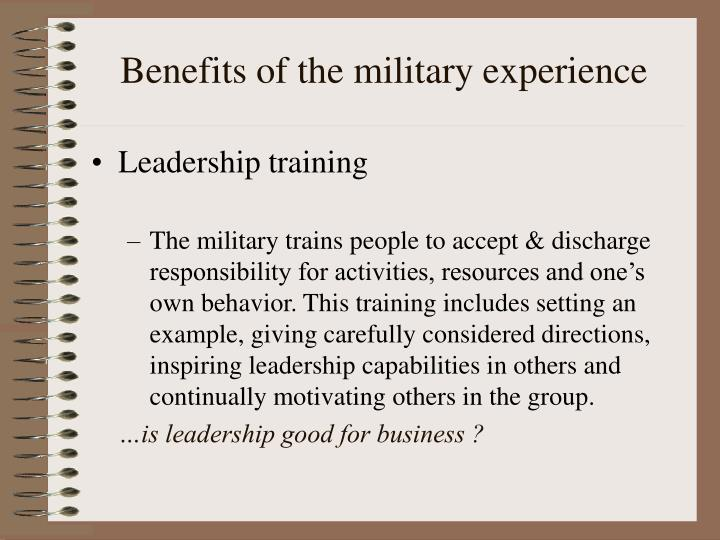Benefits of the military experience