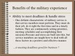 benefits of the military experience1