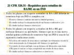 21 cfr 320 31 requisitos para estudios de ba be en un ind