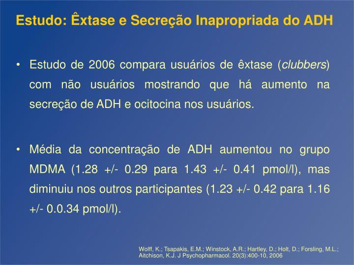 Estudo: Êxtase e Secreção Inapropriada do ADH