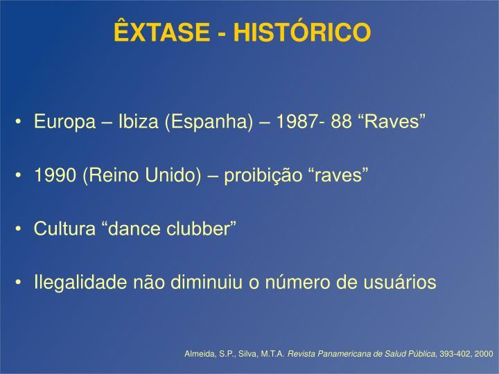 ÊXTASE - HISTÓRICO