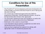 conditions for use of this presentation