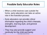 possible early educator roles