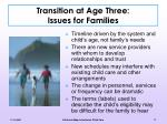 transition at age three issues for families