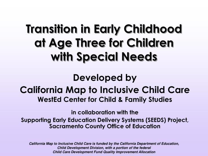 transition in early childhood at age three for children with special needs n.