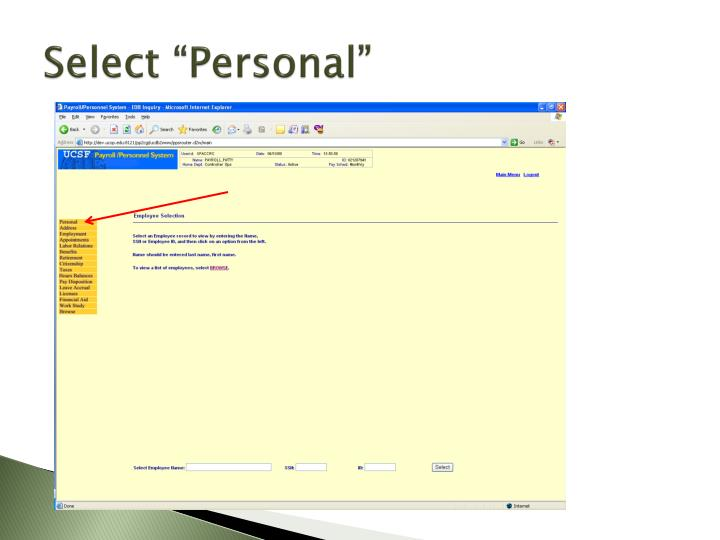 """Select """"Personal"""""""