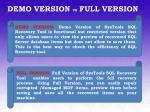 demo version vs full version