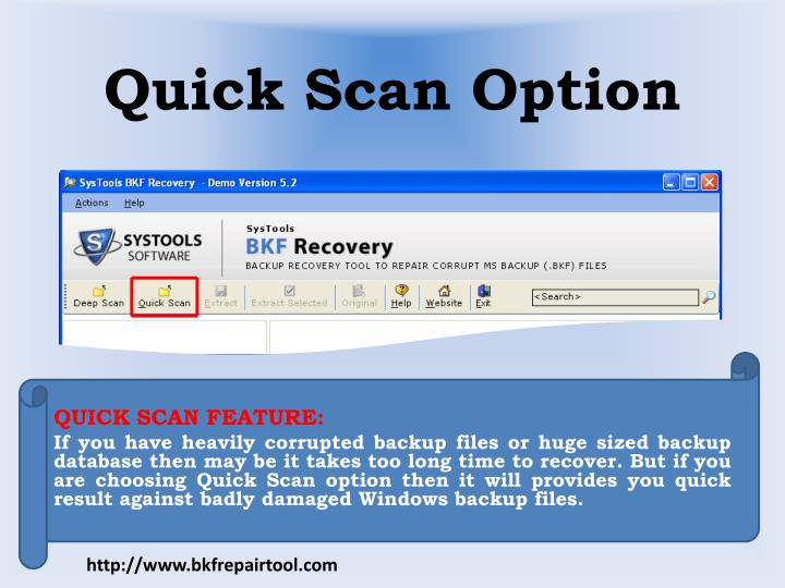 Quick scan option