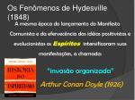 os fen menos de hydesville 1848
