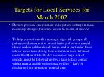 targets for local services for march 2002
