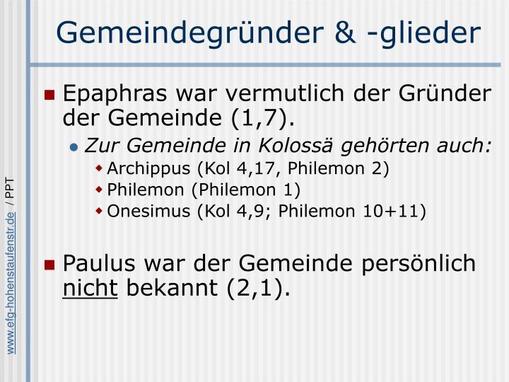 Gemeindegründer & -glieder