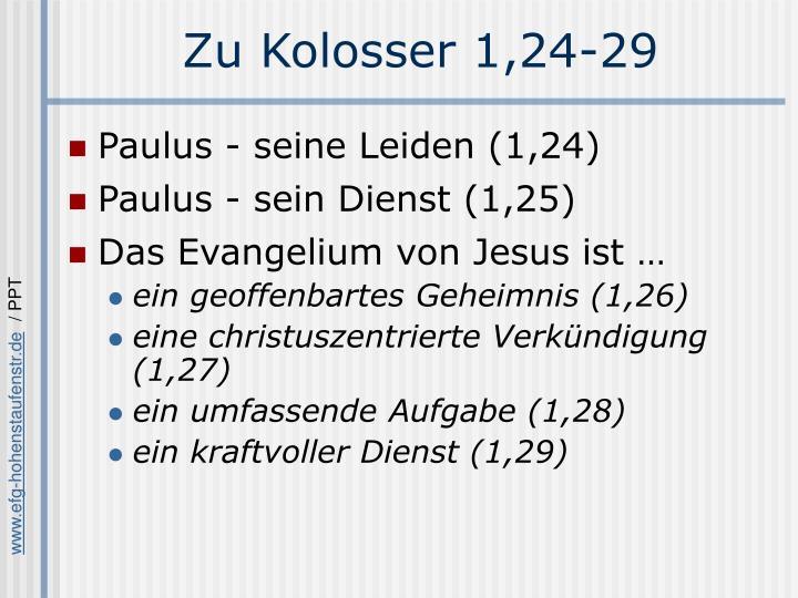 Zu Kolosser 1,24-29