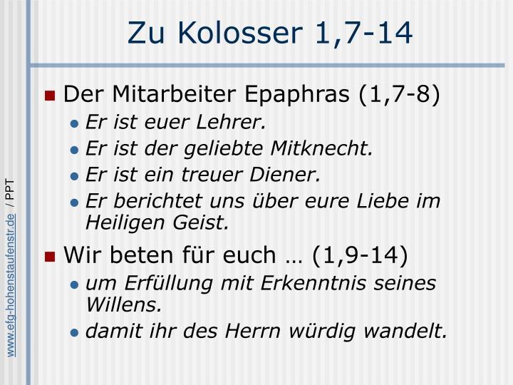 Zu Kolosser 1,7-14