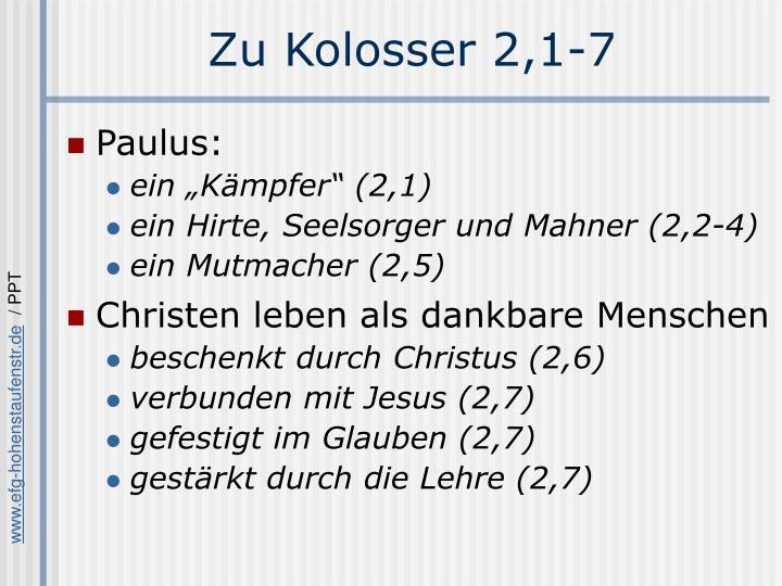 Zu Kolosser 2,1-7