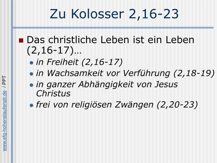 Zu Kolosser 2,16-23
