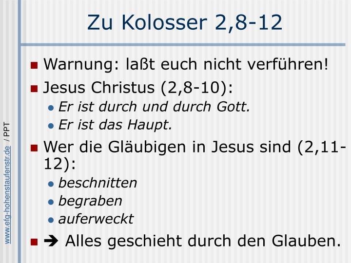 Zu Kolosser 2,8-12