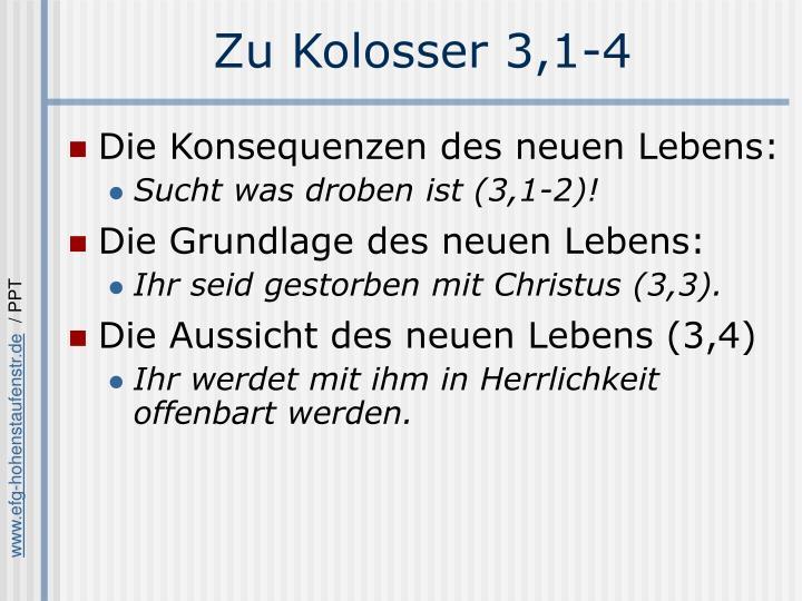 Zu Kolosser 3,1-4